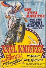 "EVEL KNIEVEL LONDON STUNT POSTER  8""X6"" METAL PLAQUE AS-56"