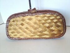 Hermusche Small Cluth Brown Wicker Hand Made Woven Purse