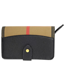 Burberry House Check Leather Wallet - Black