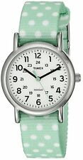 Timex TW2P65500 Women's Weekender Green Polka Dot Reversible Nylon Band Watch