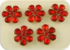 2 Hole Beads Happy Flowers w/Red Siam Swarovski Crystal Elements ~ Sliders QTY 5