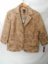 Women's Field Manor Bronze Button Down Jacket Size L Floral Pattern; New w/ Tags