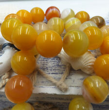 8mm 10pcs yellow Stripe Agate Natural Gemstone Round Spacer Loose Beads