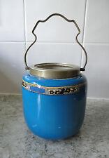 VECCHIO vintage anni'20 BLU CERAMICA Newport & CO LTD / Burslem CERAMICA BISCUIT Barrel
