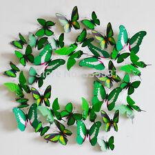 12pcs 3d Mariposa pegatina Arte Mural De Pared puerta calcomanías Decoración Del Hogar-Verde