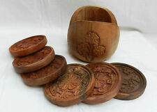 Set of Six Hand Carved Wooden Drinks Coasters and Stand - BNWT
