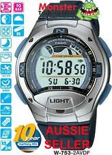 AUSSIE SELER CASIO W-753-2AV W753 FISHING WATCH TIDE GRAPH 12 MONTH WARRANTY