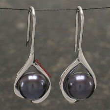 Solid Silver 925 Wave Shape; Black Freshwater cultured pearl Hook Earrings