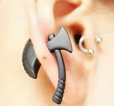 Wholesale Cool Womens Mens Black Hatchet Ear Stud Earring Piercing Jewelry Gift