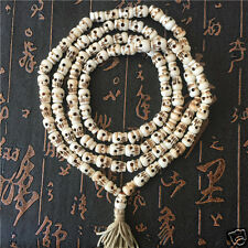 Vintage 108 Beads Yak Bone Skull Prayer Mala Tibetan Buddhist Necklace Feng Shui