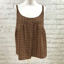 NEW PRADA Brown Pink Check Print Open Back Strappy Summer Top SIZE UK 10 03387