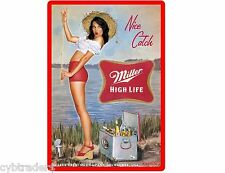 Miller High Life Beer Girl Fishing  Refrigerator / Tool Box  Magnet Man Cave