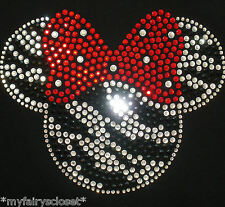 "7"" ZEBRA Minnie Mouse red bow iron on rhinestone transfer for Disney shirt"