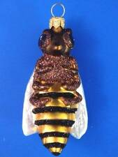 BUMBLE BEE YELLOW JACKET EUROPEAN BLOWN GLASS CHRISTMAS TREE ORNAMENT HORNET