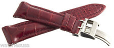 JACOB & CO MENS 22MM DARK RED ALLIGATOR LEATHER WATCH BAND STRAP