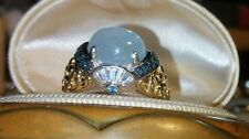 Ross Simons 18k Yellow Gold/Sterling silver cabochon Blue chalcedony london ring