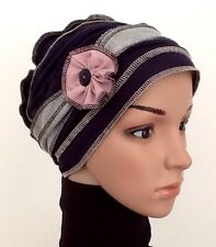 HEADWEAR HAT HAIR LOSS LAYERED SOFT STRETCH FABRIC  ALOPECIA CHEMO HAT CANCER