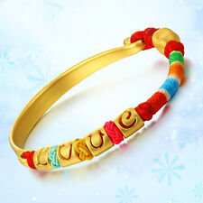Authentic 24k Yellow Gold Half Bangle with Love and Heart Knitted Bracelet 16cm