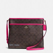 New COACH F34938 Signature File Bag Crossbody Handbag Brown Pink Ruby $225.00