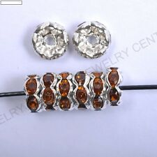 100pcs Quality Crystal WAVY Rhinestone SILVER PLATED Rondelle Spacer BEADS 6/8MM