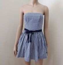 NWT Abercrombie Womens Strapless Checkered Plaid Dress Size Small Blue White Bow