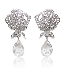 CLIP ON Zircon Big Waterdrop Women Earrings Bridal Wedding Party Dangle Earring