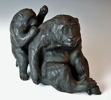 SUPERB ANTIQUE JAPANESE MONKEY STATUE Meiji 1800s Cast Metal Saru Sanno Okimono