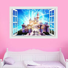 3D Window Castle Wall Kids Boy Girls Colour Vinyl Decal Sticker Bedroom Decor