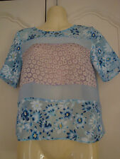 PALE BLUE FLORAL CHIFFON CROPPED TOP BY TOPSHOP, SIZE 6
