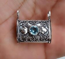 925 Sterling Silver-IL92 Perfume Prayer Box Pendant With Blue Topaz  NEW 2017