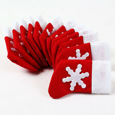 New 12 Pcs/Set Lovely Christmas Stocking Style Tableware Bags Dining Party Decor
