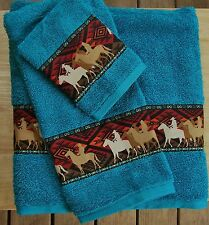WESTERN/COWBOY DECOR RUSTIC 3 pc TURQUOISE TOWEL SET,MATCHING COWBOY BORDER