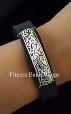 "Fitness Bling Band Wraps FOR with Fitbit Flex/Jawbone/Various ""Black + Silver"""