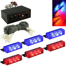 18 LED Blue&Red Car Police Strobe Flash Emergency Grill Light 3 Flashing Modes