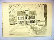 1930-40's C.Palmer Ink & Wash Drawing of a Mansion in New England