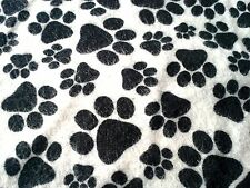 1 1/2 YD Black Paw Prints Dog Fabric - 100% Cotton Flannel and Cute!