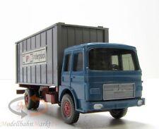 WIKING MAN 9.186 LKW azurblau/hellbraunrot mit Container Interpool Maßstab 1:87