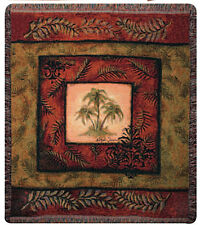 Palm Breezes ~ Palm Trees & Palm Fronds Tapestry Afghan Throw