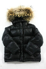 Bonpoint Baby Boys Black Long Sleeve Racoon Fur Hooded Puffer Coat Size 3