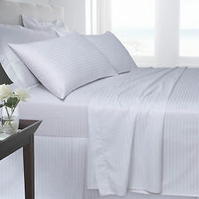 Egyptian Cotton Fitted or Flat Sheet Plain Single Double Super King Satin Stripe