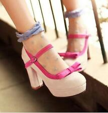 New Bowtie Mary Janes High Block Heels Women Platform Lolita Prom Shoes Pink US8