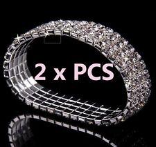 4-Row x 2 Pieces AB Austrian Crystal Sparkle Rhinestone Bangle Stretch Bracelets