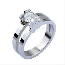 Cute Bear Silver/Gold White CZ Stainless Steel Ring Women's Wedding Band Size6-9