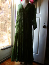 New April Cornell Green Dot Dress Tiered 2 pc L Large Vintage Romantic Polka