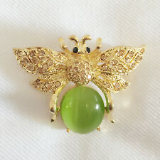 New Gold Plated Honey Bumble Bee Grn Tigers Eye Stone Crystals Brooch Pin BR1185