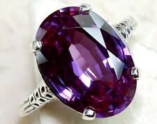 Fashion Women Jewelry Big Amethyst Gemstone 925 sterling silver Ring k855 Size 7