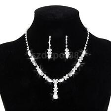Bridal Wedding Formal Party Jewelry Set Crystal Diamante Necklace & Earrings
