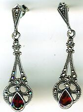 925 Sterling Silver Garnet & Marcasite Drop Dangle Earrings   Length 1.1/2""