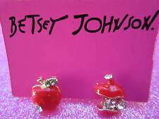 Betsey Johnson Red Apple Earrings