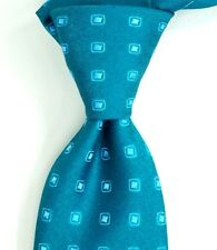 "$245 CHARVET VENDOME Emerald w/ Satin Teal Medallions Silk Neck Tie 3.5""W NWT"